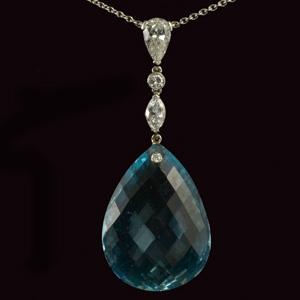 John joseph pendants mm5138p platinum marquise diamonds and aquamarine faceted pear shaped large drop 1940c aloadofball Gallery