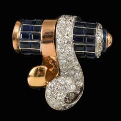 e3082d6b1 MM6072br retro gold platinum diamond sapphire clip brooch 1950/60c stunning
